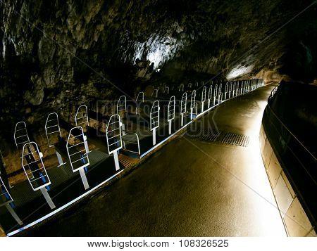 Tourist train in Postojna cave
