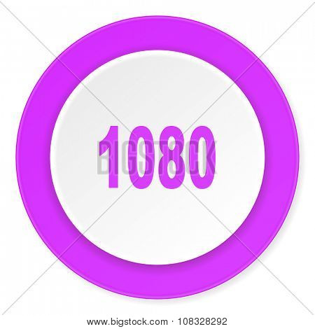 1080 violet pink circle 3d modern flat design icon on white background