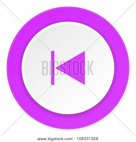 prev violet pink circle 3d modern flat design icon on white background