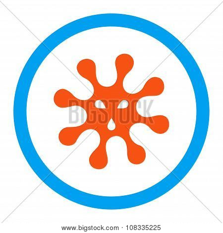 Virus glyph icon. Style is flat rounded symbol, bright colors, rounded angles, white background. poster