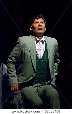"DNEPROPETROVSK UKRAINE NOVEMBER 19: Alexander Mishin performs ""Blithe Spirit"" at State Russian Drama Theatre on November 19 2006 in Dnepropetrovsk Ukraine poster"