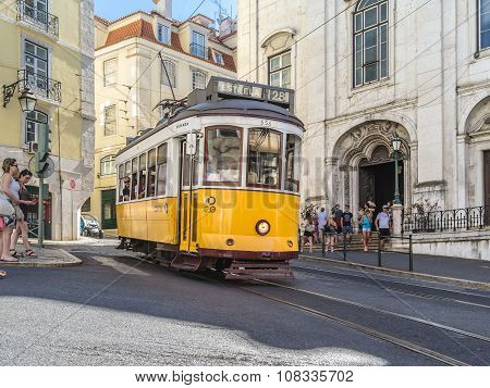 Yellow Tram In Lisbon Portugal
