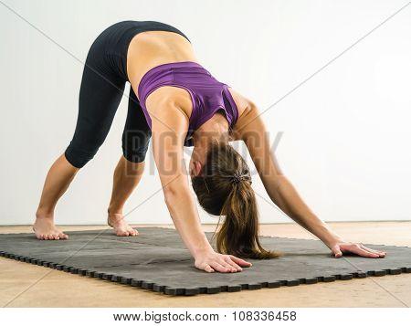 Woman Doing Downward Dog Yoga Position