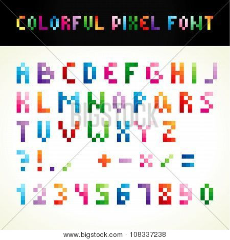ABC pixel style colored. Set of vector multicolored letters, numbers. Alphabet in pixels and various colors. A b c d e f g h i j k l m n o p q r s t u w v x y z, 0 1 2 3 4 5 6 7 8 9, punctuation marks.