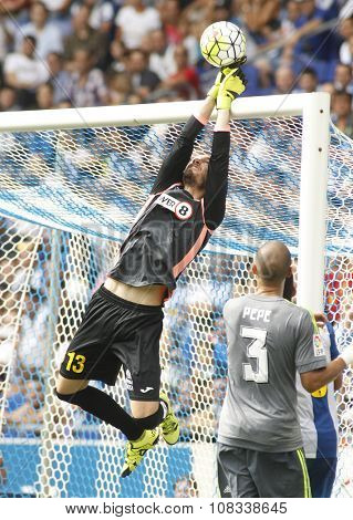 BARCELONA - SEPT, 12: Pau Lopez of RCD Espanyol in action during a Spanish League match against Real Madrid at the Power8 stadium on September 12, 2015 in Barcelona Spain
