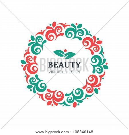 Vector beauty salon logo design template. Decorative vintage ornament flourishes frame background. Abstract concept for floral shop spa natural organic cosmetics emblem label. poster