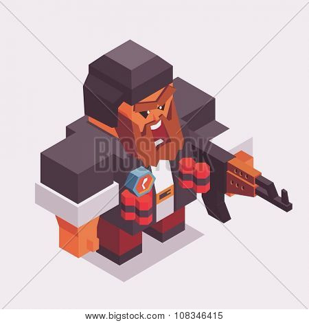 Terrorist with ak-47 and bomb or dinamit. vector illustration poster