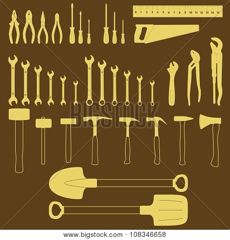 Tools Icon Silhouette Set
