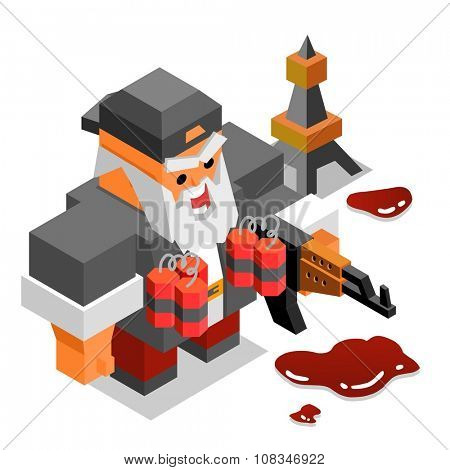 Terrorist with ak-47 and bomb or dynamite. vector illustration poster