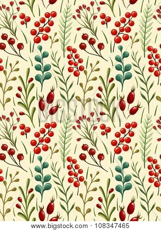 Floral seamless pattern with autumn and winter plants, berries stylized like watercolor