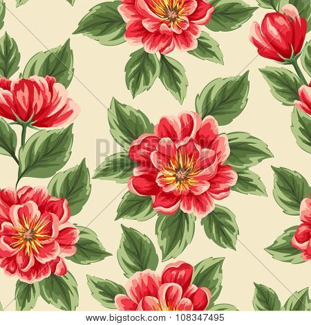 Floral seamless pattern with bright peonies stylized like watercolor