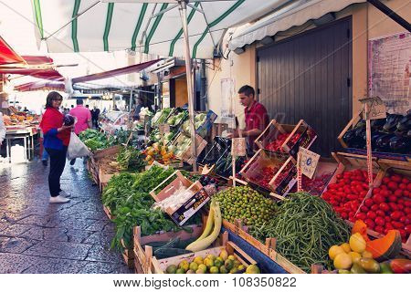 Grocery Shop At Famous Local Market Capo In Palermo, Italy