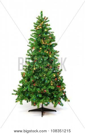 Christmas tree with colorful lights isolated on white