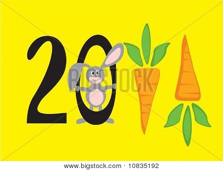 2011 New Year In Figures In The Form Of Carrots, With  Rabbit