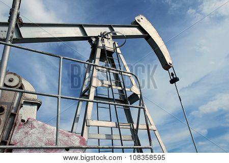Detail Of Pump Jack In Europe Oil Field