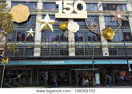 The Christmas Decorations And 150 Anniversary On Printemps Chopping Center, Paris, France.