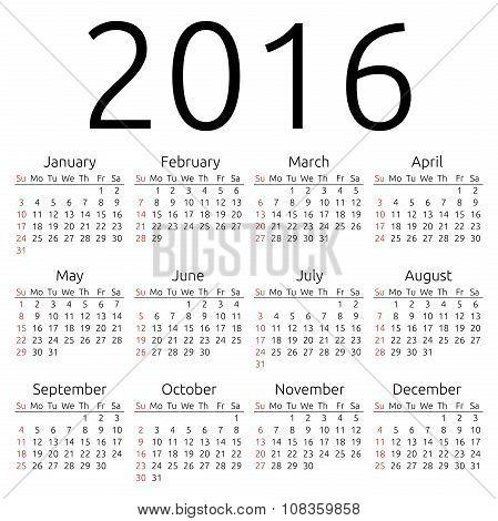 Vector Calendar 2016, Sunday