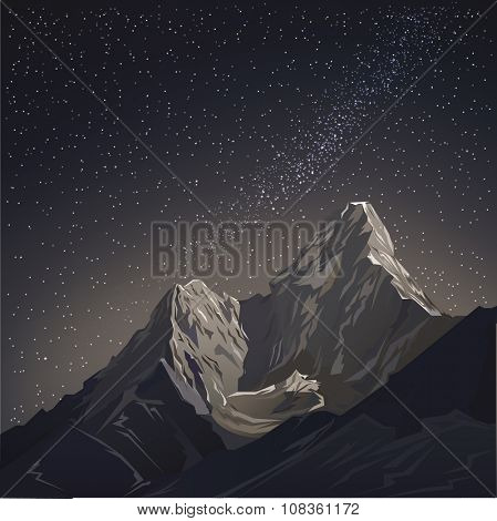 Night sky with mountains and stars. vector illustration background. night scenery of the mountains with a starry sky and the milky way. Star night