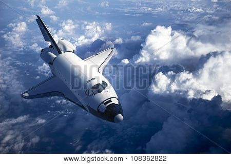 Space Shuttle Landing In The Clouds. 3D Scene. poster