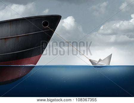 Amazing power concept as a small paper boat in the ocean pulling a huge metal ship as an overachiever metaphor for maximizing potential and business motivation for accomplishing impossible tasks through belief and determination. poster