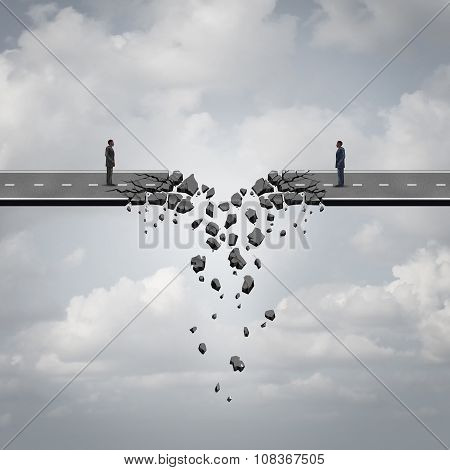 Business deal failure concept as two businessmen on a road bridge that is breaking down and disconnecting as a failing corporate relationship crisis symbol. poster