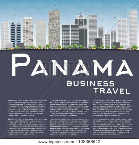 Panama City skyline with grey skyscrapers, blue sky and copy space. Business travel and tourism concept with place for text. Image for presentation, banner, placard and web site. poster