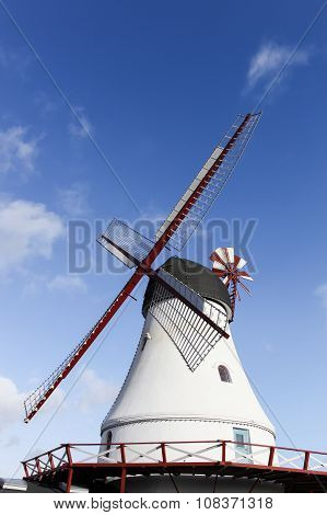 White Vejle windmill with grinding loft in Denmark poster