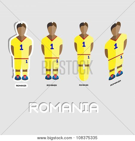 Romania Soccer Team Sportswear Template. Front View of Outdoor Activity Sportswear for Men and Boys. Digital background vector illustration. Stylish design for t-shirts shorts and boots. poster