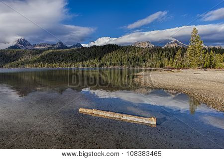 Log In The Water Of Redfish Lake.