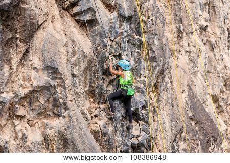 Tenacious Girl Climbing A Rock Wall