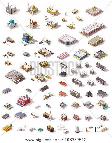 Big set of the isometric buildings