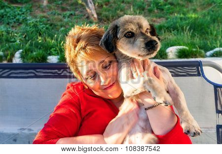 Blonde Woman And Her Dog