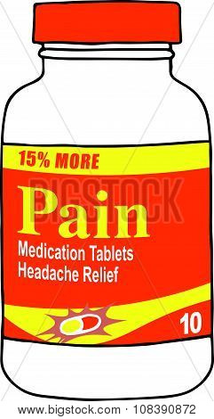 Pain or Vitamin Medication Box or Bottle for when you Get Hurt on the Job or Have Back Pain or Even a Simple Headache. The Capsules, Gel Tabs, or Tablets will Help You Feel Healthy and Strong. This Drug Relieves Pain! poster