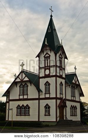 Church in Husavik, small town and harbor in north Iceland
