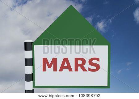 Render illustration of Mars Title on road sign pointing upward poster
