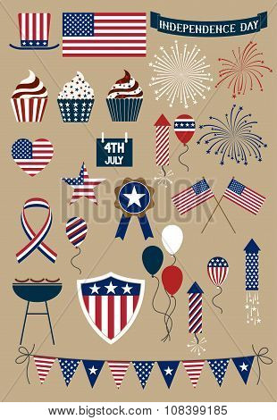 Set Of Icons Forth Of July