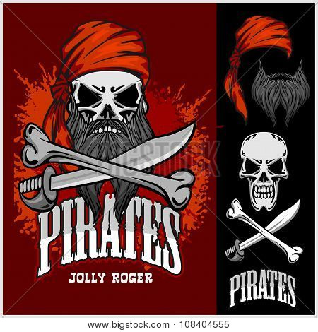 Pirate Skull in Red Headband with Cross Swords