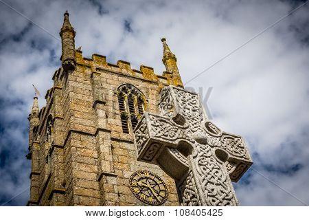 St Ia's Church clock tower and cross