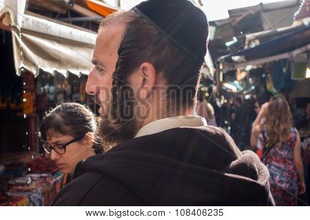 Jew Doing Shoppings At Market