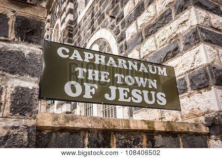 Capharnaum Sign, Galilee, Israel