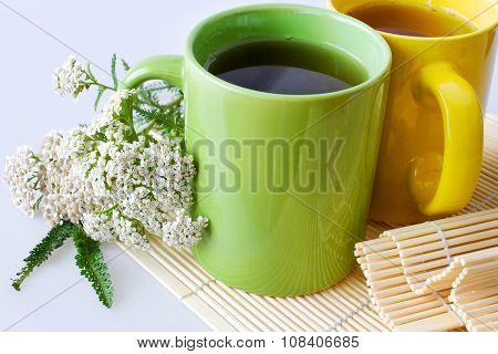 Achillea millefolium plant with flowers / fresh Yarrow tea - herbal healing homemade remedy poster
