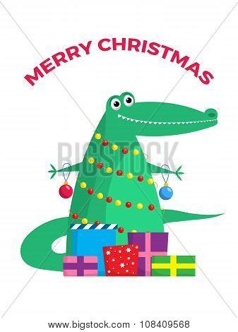 Funny Xmas crocodile