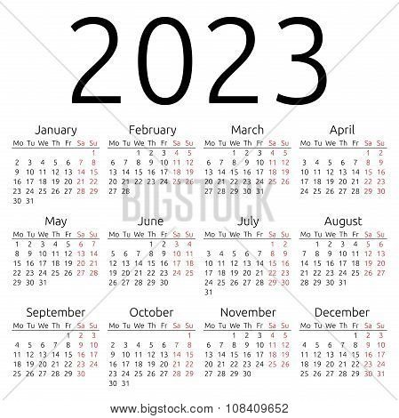 Simple Calendar 2023, Monday