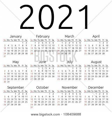 Vector Calendar 2021, Sunday