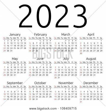 Vector Calendar 2023, Sunday