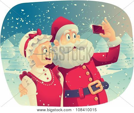 Santa Claus and Mrs. Claus Taking a Photo Together