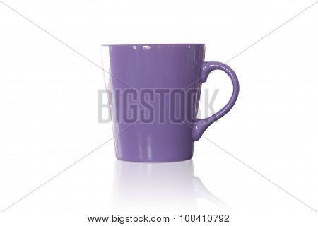 Violet Coffee Mug Isolated On White Background