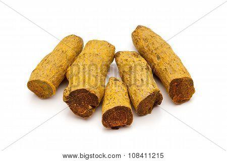 Macro closeup of Organic Long Turmeric.