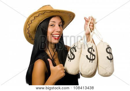 Young woman with gun and money sacks poster