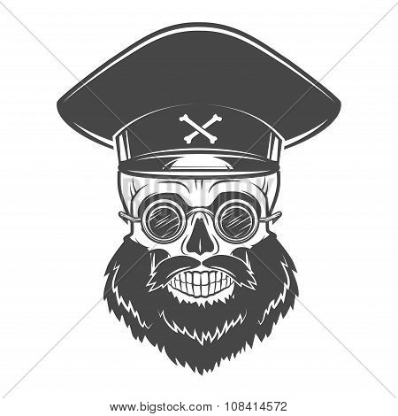 Bearded Skull with Captain cap and goggles. Dead crazy tyrant logo concept. Vector dictator t-shirt